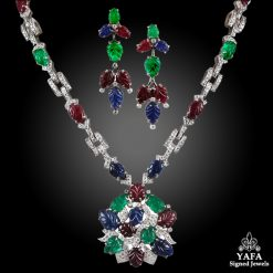 Diamond, Carved Sapphire, Emerald Necklace Suite