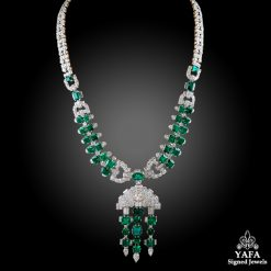 Platinum Diamond, Emerald Necklace 35cts.