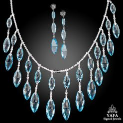 Platinum Diamond, Blue Topaz Necklace Suite
