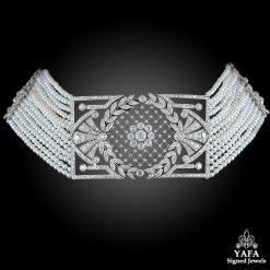Platinum Diamond Pearl Choker Necklace