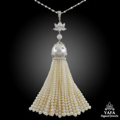 Platinum Diamond & Pearl Tassel Necklace