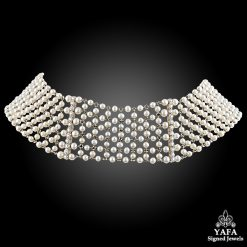 Platinum Diamond,Pearl Wide Choker Necklace