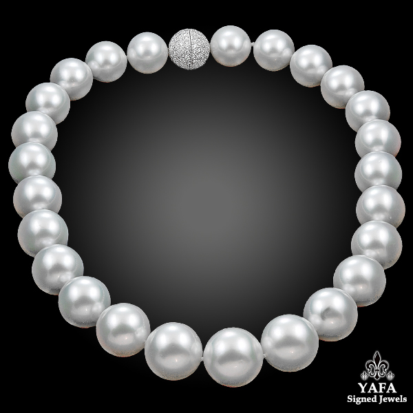 South Sea Pearl, Diamond Clasp Necklace