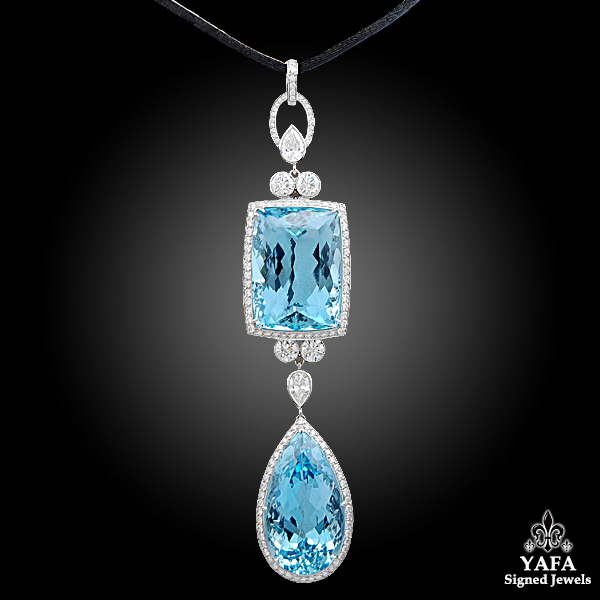 Platinum Diamond & Aquamarine Pendant Necklace