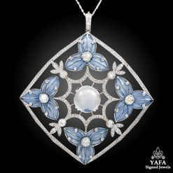 Platinum Diamond, Moonstone Pendant-Necklace