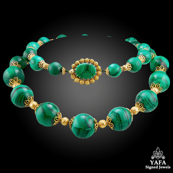 CARTIER Malachite Gold Necklace