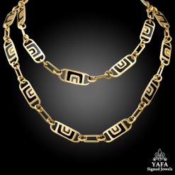 CARTIER Gold Black Enamel Link Necklace