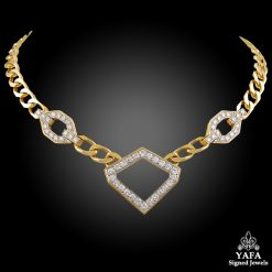DAVID WEBB Two Tone Diamond Link Necklace