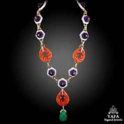 DAVID WEBB Carved Amethyst, White Enamel,Coral, Diamond & Carved Emerald Necklace