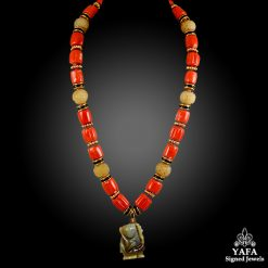 DAVID WEBB Carved Jade, Coral Beads & Black Enamel Necklace