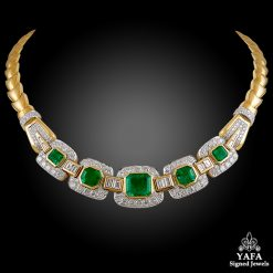 David Webb Two Tone Diamond, Emerald Necklace