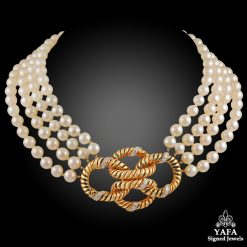 VAN CLEEF & ARPELS Diamond, 4 Row Pearl Necklace