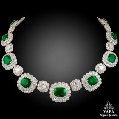 Platinum Diamond, Emerald Necklace 61.25