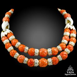 DAVID WEBB Coral,White Enamel Necklace