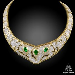 18k Gold Diamond, Emerald Necklace