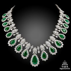 Two Tone Diamond,Emerald Necklace
