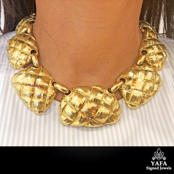 DAVID WEBB Textured Weave Collar Necklace