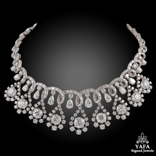 Circa 1960s Platinum Diamond Necklace - 95cts.