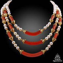 VAN CLEEF & ARPELS Diamond, Pearl, Carnelian Necklace