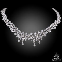 Platinum Marquise, Pear Shape, Round Diamond Necklace