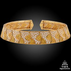 VAN CLEEF & ARPELS Fancy Yellow, White Diamond Collar Necklace
