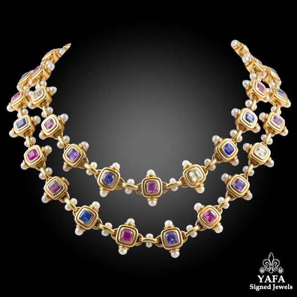 JAR 18 Karat Gold Multi-Colored Sapphire, Pearl Necklace