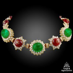 VAN CLEEF & ARPELS Carved Emerald, Ruby,Diamond Necklace-Bracelet