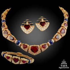 BULGARI Heart Shaped Ruby,Diamond,Sapphire Necklace
