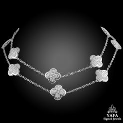 VAN CLEEF & ARPELS Diamond 9 Motif Alhambra Necklace