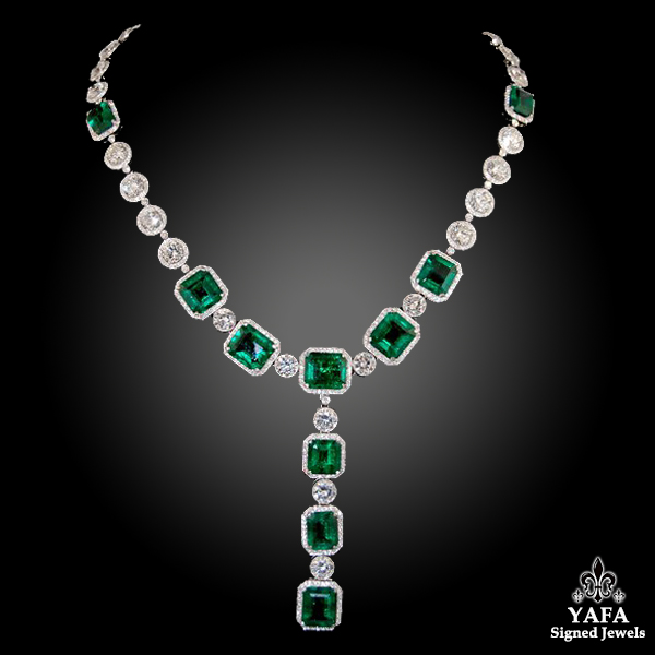 Platinum Diamond, Emerald Necklace