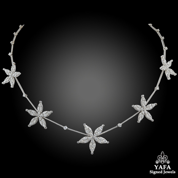 Platinum Diamond Star Necklace