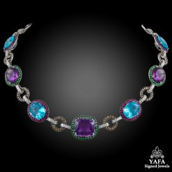 Diamond,Semi-Precious Colored Stones Necklace