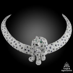 CARTIER Diamond,Cabochon Sapphires Panther Necklace
