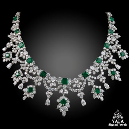 Harry Winston Diamond Emerald Necklace Yafa Signed Jewels