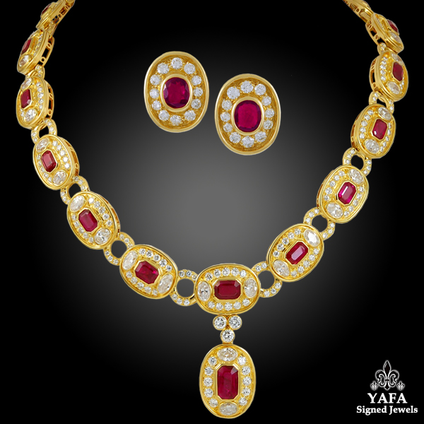BULGARI Diamond, Ruby Necklace Earrings