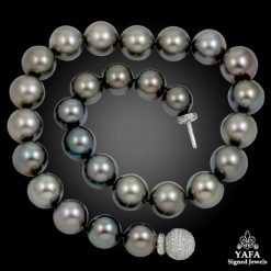 Platinum Diamond and Black South Pearl Clasp Necklace