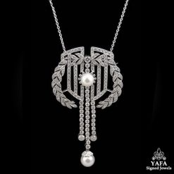 Platinum Pearl Diamond Pendant Brooch