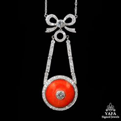Coral, Diamond Bow Pendant Necklace