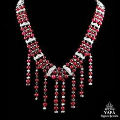 Platinum Diamond & Rubellite Beads Necklace