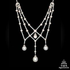 Platinum Diamond,Hanging Pearl Necklace