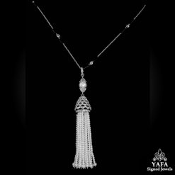 Long Diamond, Pearl Tassel Necklace