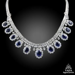 Platinum Diamond, Blue Sapphire Necklace