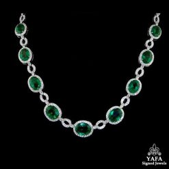 Platinum Diamond Oval Shaped Emerald Necklace