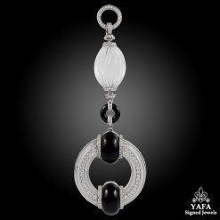 Platinum Diamond, Crystal & Onyx Pendant