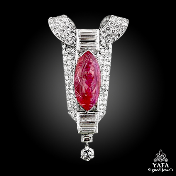 Platinum Carved Ruby & Diamond Pendant