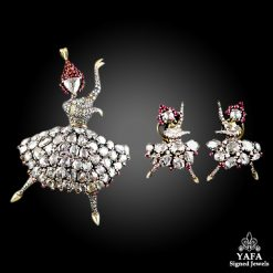 Silver Gold Diamond Ruby Ballerina brooch & Earrings