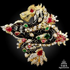 DAVID WEBB Black Enamel Diamond Ruby Dragon Brooch