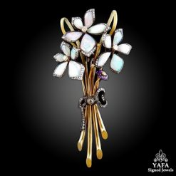 Yellow Gold Diamond, Amethyst Bouquet Brooch