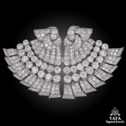 VAN CLEEF & ARPELS Paris Double Fan Diamond Clips 1939