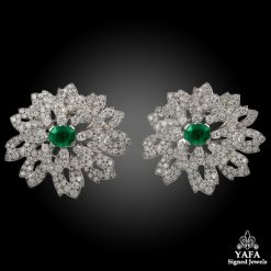 CARTIER Diamond & Emerald Double Clips